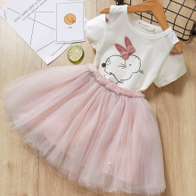 Girls Prints Rabbit Pompoms Cold-Shoulder Blouse and Tutu Pearls Skirt Two-Piece Outfit