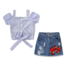 Girls Straps Stripes Blouse and Embroidery Rose Skirt Two-Piece Outfit