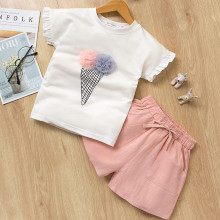 Girls Print Ice-cream Ruffles Sleeves T-shirt and Pink Shorts Two-Piece Outfit