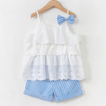 Girls Hollow Out Ruffles Vest and Stripes Shorts Two-Piece Outfit