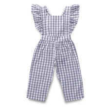 Girls Plaids Ruffles Jumpsuits
