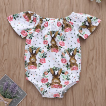 Baby Girl Print Rabbits Flowers Bodysuit