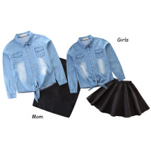Mommy and Me Blue Denim Shirt and Black Skirt Two-piece Outfits