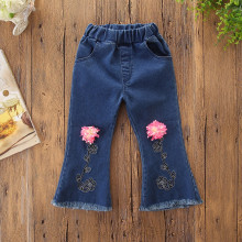 Girls Embroidery Pink Flowers Denim Jeans