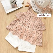 Girls Print Flowers Vest and White Hollow Out Shorts Two-Piece Outfit With Hat