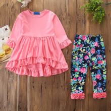 Girls Pink Ruffles Long Sleeves Top and Print Flowers Pant Two-Piece Outfit