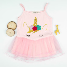 Girls Print Unicorns Tutu Pink Dress