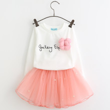 Girls Slogan Long Sleeves Tee and Pink Pearls Tutu Skirt Two-Piece Outfit