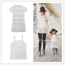 Mommy and Me White Vest and Lace Tassels Dress Two-piece Outfits