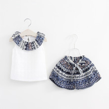 Girls Prints National Pattern Ruffles Hollow Out Blouse and Shorts Two-Piece Outfit