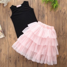 Mommy and Me Black Tank and Pink Layers Tutu Skirt Two-piece Outfits