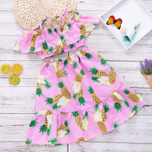 Girls Print Pineapples Ruffles Top and Skirt Two-Piece Outfit