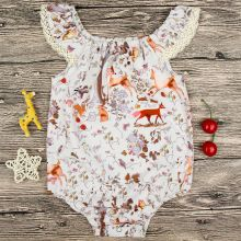 Baby Girl Print Forest Decorative Border Patterns Apricot Bodysuit