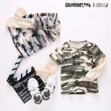 Boys Prints Camouflage Color Long Sleeves Tee