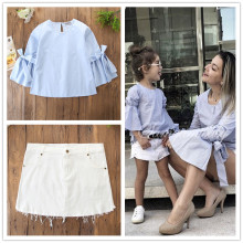 Mommy and Me Bell Sleeves Blouse and White Denim Skirt Two-piece Outfits With Hairband