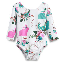 Baby Girl Print Flowers Long Sleeve Cotton Bodysuit With Rabbit Tail