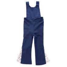 Girls Lace Flared Dark Blue Denim Jumpsuits
