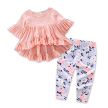 Girls Pink Ruffles Blouse and Flowers Pant Two-Piece Outfit