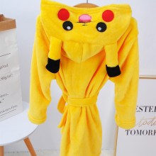 Kids Yellow Pikachu Soft Bathrobe Sleepwear Comfortable Loungewear