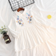 Girl Embroidery Flowers Long Sleeves Shirt Dress