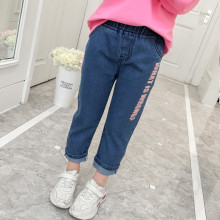 Girls Print Slogan Classic Straight Jeans Bottoms