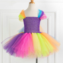 Girl Crocheted Rainbow Tutu Dress