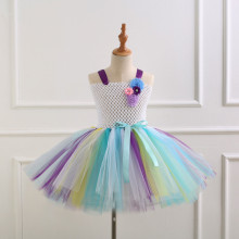 Girl White Crocheted Flowers Tutu Dress