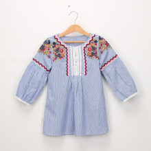 Girls Stripes Vintage Embroidery Long Sleeves Dress