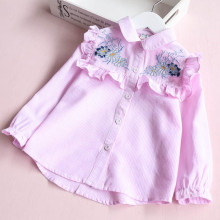 Girl Ruffles Embroidery Flowers Stripes Shirts