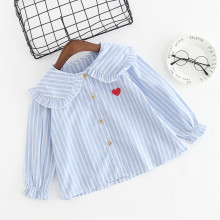 Girls Ruffles Collar Bell Sleeves Stripes Blouse