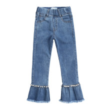 Girls Pearls Flared Denim Jeans Bottoms