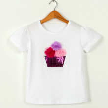 Girls Print Flowers Sequins White T-Shirts