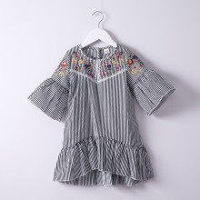 Girls Stripes Embroidery Bell Dress