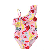 Kid Girl's Pink Prints Fruits One Piece Swimsuit