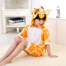 Kids Yellow Giraffe Summer Short Onesie Kigurumi Pajamas for Unisex Children
