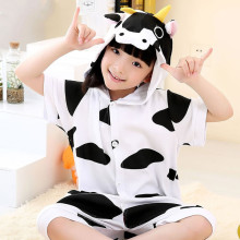 Kids White Cow Summer Short Onesie Kigurumi Pajamas for Unisex Children