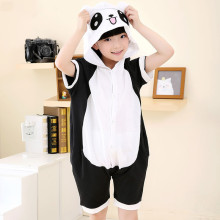 Kids Black Panda Summer Short Onesie Kigurumi Pajamas for Unisex Children