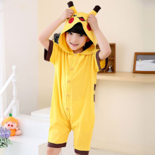 Kids Yellow Pikachu Summer Short Onesie Kigurumi Pajamas for Unisex Children