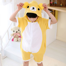 Kids Yellow Bear Summer Short Onesie Kigurumi Pajamas for Unisex Children