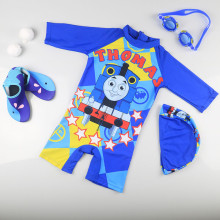 Kid Boys Print Thomas Trains Swimsuit With Swim Cap