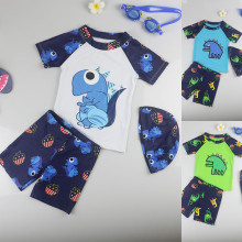 Kid Boys Print Dinosaur Swimwear Sets Short Top and Truck With Swim Cap