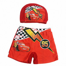 Kid Boys Print Racing Car Swimwear Trunks Swim Boxer Shorts With Cap