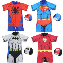 Kid Boys Print Super Hero Swimsuit With Swim Cap