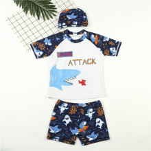 Kid Boys Print Shark Attack Short Top and Trunks Two Pieces With Swim Cap