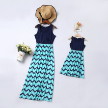 Mommy and Me Stripes Sleeveless  Family Matching Maxi Dresses