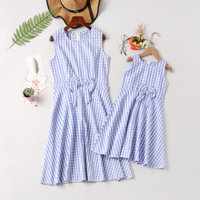 Mommy and Me Plaid Bowknot Family Matching Sleeveless Dresses