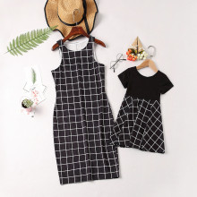 Mommy and Me Family Matching Black Plaid Dresses