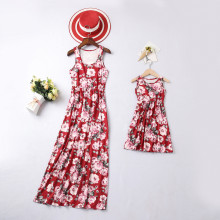 Mommy and Me  Family Matching Sleeveless Red Flowers Maxi Dresses