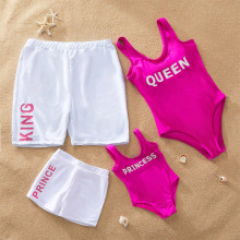 Family Matching Swimwear Print King Queen Prince Princess Swimsuit and Truck Shorts