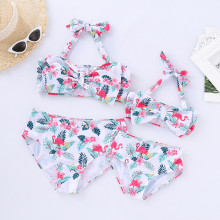 Mommy and Me Print Flamingo Flowers Family Matching Bowknot Bikini